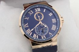 Suisse Watches NZ - 2019 Luxury watch Hot seller Hot Sale Auto watch Blue Dial Gold Case Suisse Rubber Band Glass Back 45mm Mechanical watch