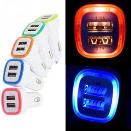 Carregador de carro Levou Dupla USB Portátil Carregadores de Telefone Celular 5 V 1A para iphone x samsung s8 s9 além de 2 usb adaptador