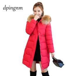 Wholesale coats hoods for women resale online - womens winter jackets and coats Parkas for women Colors Wadded Jackets warm Outwear With a Hood Large Faux Fur Collar
