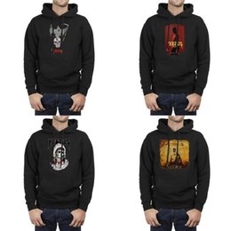 Discount yeezus tour pullover Men Design Printing The-New-Yeezus-Poster-Red Indian Skeleton Tour black Pullover Hoodies Vintage Band Sweater Hoodie Ka