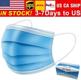 Venta al por mayor de envío libre de 3-7 días a la cara Máscaras de EE.UU. desechable con elástico Ear Loop 3 capas transpirable para el bloqueo de polvo del aire caliente contra la contaminación