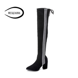 models high boots UK - WEIQIAONA Winter Women Shoes Pointed Toe Long Boots High Heels Ladies Shoes Dress Stars Model Sexy Over-the-Knee Boot