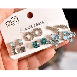 $enCountryForm.capitalKeyWord Australia - New fashion women accessorize girls birthday party earrings beautiful mix-and-match 6 pairs  set earrings Christmas gift
