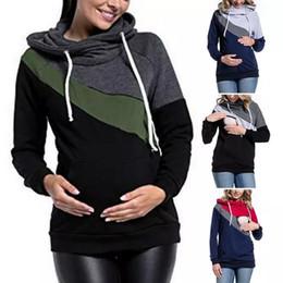 Wholesale nurse hoodie online – oversize Womens Patchwork designer Maternity Hoodies sweatshirts Long Sleeve Nursing Top Breastfeeding Pullover Feeding Shirts Tees Outdoor Hoodies