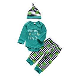 Little Hats Australia - Baby Boy Four Leaf Clover Green Striped Clothing Outfits Romper Pants Hat Three Pieces baby Clothes Mommy's Little Lucky Charm Toddler 0-24M