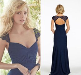 10cf57674388 2019 New Navy Dark Blue Lace Cap Sleeves Modest Chiffon Wedding Cheap Bridesmaid  Dresses Keyhole Back Sexy Party Dress For Maid Of The Honor