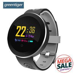 Q8 Smart Watch Australia - Greentiger Q8 Pro Smartwatch Fitness Tracker Tempered Glass Smart Watch Ip68 Waterproof Heart Rate Monitor Smart Bracelet J190522