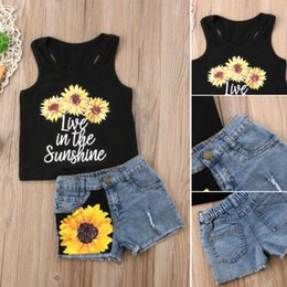 jeans top girl outfit NZ - Fashion Baby Girls Casual Outfit Toddler Kid Sleeveless Sunflower Top Baby Vest Denim Shorts Jeans Summer Kids Wear Baby Clothes