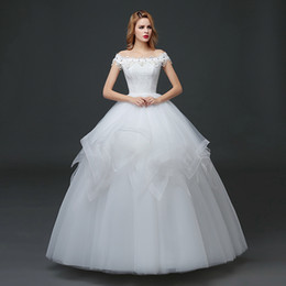Chinese  Bridal wedding dress new summer simple dress white wedding bridal double shoulder wedding dress manufacturers