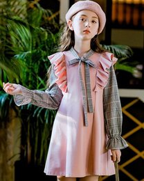 Bow Briefs online shopping - 2019 Christmas New Style Girl Princess Skirt Autumn or Winter New Color Block A line Skirt Girls Dress Long Sleeve