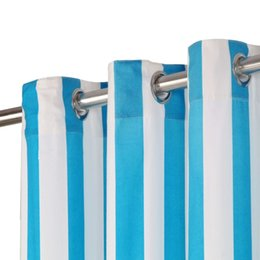 curtains styles designs UK - Curtains with Metal Rings 2pcs 140x245cm Blue Striped Fabric