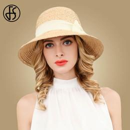 Straw Fedora Beach Hat Australia - wholesale Foldable Wide Brim Floppy Raffia Straw Cap Women Summer Hat 2019 Female Casual Fedoras Beach Girls Sun Hats Chapeau Femme