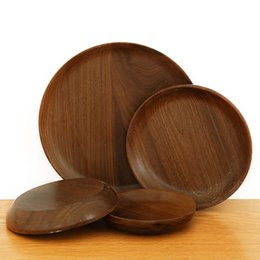 round kitchen sets Australia - Black Walnut Round Wooden Western Dish Pizza Plates Coffee Dim Sum Restaurant Family Kitchen Tableware Set