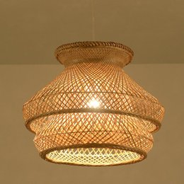 Modern Wooden Lights NZ - Modern Bamboo Pendant Lamp LED Suspension Light Work Hand Knitted Droplight For Dinning Room Bedroom Art Home Light Wooden Lamps