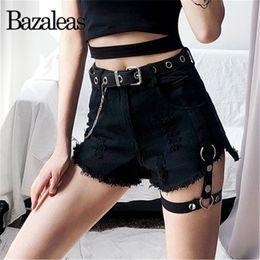 Punk Rings Australia - Bazaleas Streetwear Black Demin Shorts Sexy Leg ring Women Shorts Punk short feminino harajuku Tassel short Casual drop shipping