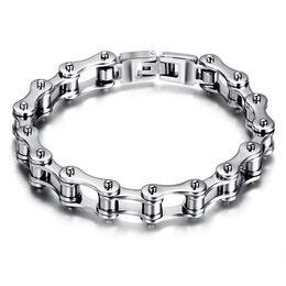 $enCountryForm.capitalKeyWord Australia - Stainless Steel Motorcycle Bike Chain Bracelet For Men Silver Black