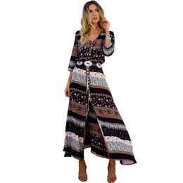 $enCountryForm.capitalKeyWord Australia - Sexy Print Long Women Dress Elegant Maxi Vintage 2018 Fashion Beach Robe Bohemian Vestido Casual Clothes Summer Style Dress Y19070901