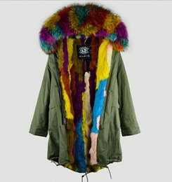 lined green army parka Australia - meifeng brand biggest size 4XL 3XL multicolour raccoon fur trim hoody snow fur coats multicolour Rabbit villus lining army green long parkas