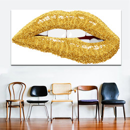 Art Canvas Prints Australia - 1 Piece Golden Lips Decorative Painting Big Size Canvas Painting for Living Room Home Decor Abstract Art Canvas Print No Frame