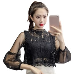 $enCountryForm.capitalKeyWord Australia - Party Mesh Lace Solid Lantern Sleeve Sweet Pullover Voile Costumes Women Blouse Shirts Tops Retro Loose Round Neck Spring Short
