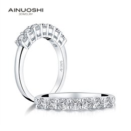 simulated diamond cluster rings NZ - AINUOSHI Fashion 925 Sterling Silver Band Rings Women Engagement Simulated Diamond Wedding Silver Bridal Band Rings Jewelry