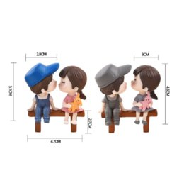 $enCountryForm.capitalKeyWord Australia - Lovers Couple Chair Figurines Miniatures Fairy Garden Gnome Moss Valentine's Day Gift Resin Crafts Home Decoration, 1 set, free shipping
