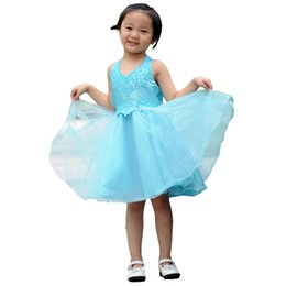 Wholesale Blue A line V neck front Halter lace bodice taffeta beaded bodice tulle skirt with Appliques Sequins Baby Flower Girls Dress