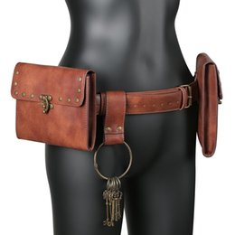 Wholesale women pirate cosplay costume for sale – halloween Medieval Pouch Bag Viking Belt Leather Wallet Men Women Steampunk Knight Pirate Costume Antique Gear Accessory Cosplay For Adult