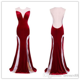 $enCountryForm.capitalKeyWord UK - 2019 Cheap Elegant Jewel Hollow Velvet Sexy Back Prom Dresses Burgundy Floor Length Evening Prom Gowns Party Dress Tulle Nightdress
