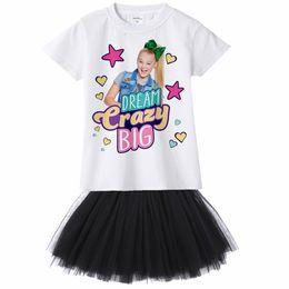 Princess T Shirts For Kids NZ - Jojo Siwa Girl Dress Children Princess Party Dress Elegant Net Veil Mesh T Shirt Jojo Kids Dress for Girls Disfraces