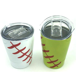baseball mugs NZ - 2019 New 8.5oz Mini Tumbler Baseball softball kids cups wine glasses Stainless Steel Travel Beer Mug with straws sport cups no Vacuum