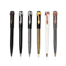new styles pens NZ - 2019 New Design Luxury Pen 6 Color Snake Head Style Metal Ballpoint Pen Creative Gift Magical Pen Fashion School Office Supplies