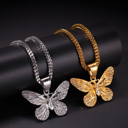 $enCountryForm.capitalKeyWord Australia - New Fashion Hip Hop Bling Diamond Mens Gold & Silver Butterfly Pendant Chain Necklace Stainless Steel Cuban Rapper Chains Jewelry for Sale