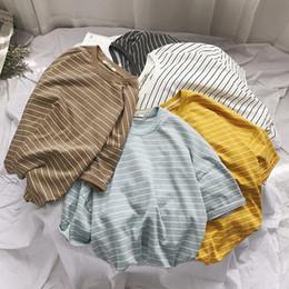 T Shirt Woman Korea Australia - Lff 2018 Summer New Arrival Women Fashion Cotton Hongkong Style Short Sleeve Tshirts Korea Style Stripe Ulzzang Loose T-shirt Y19042501