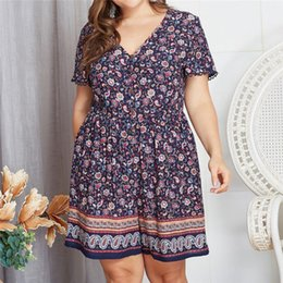 elegant plus size rompers 2019 - Plus Size Jumpsuits and Rompers for Women Loose Button Printing Bohemian Playsuits Elegant Short Sleeve Jumpsuit body do
