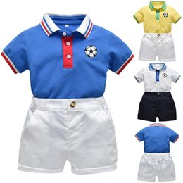 $enCountryForm.capitalKeyWord Australia - High quality Toddler Baby Boys Gentleman Print Football T-Shirt Tops+Solid Shorts Outfits Summer Clothes Dropping Roupa Menino