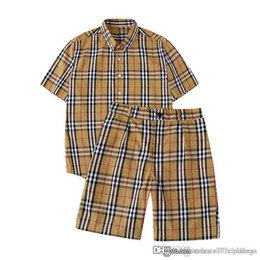 Wear Dress Shirts UK - Womens Two Piece Dress fashion Plaid t-shirt and Shorts Loose summer wear women female t shirts shorts womens designer Tops M-XXL