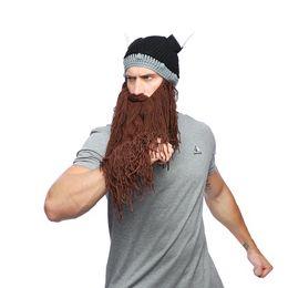 Horn masks online shopping - Men Winter Mustache Braid Beanie Halloween Funny cosplay Hat Vagabond Viking Beard Hat Horn Warm Wool Knitting Caps Mask LJJA2814