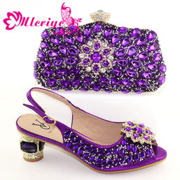 $enCountryForm.capitalKeyWord Australia - Newest Fashion italian shoes and bag set wholesale 2019 Purple color for wedding shoes and matching purse for women party