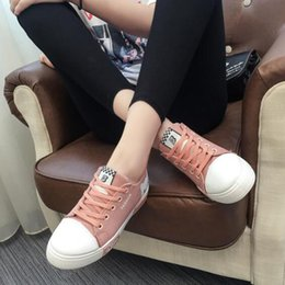 Design Canvas Print Australia - Students Casual Flats Shoes Breathable Non-slip Canvas Shoes Printed Design Round Toe Rubber Lace-up Cross-tied Spring Autumn
