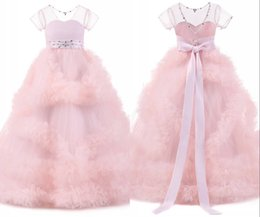 China 2020 Blush Pink Girls Pageant Dresses Christmas Dresses For Girls Ruffles Beaded Jewel Neck Ball Gown Flower Girl Dresses Bow In Stock Cheap suppliers