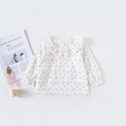 Cotton Cherry Australia - Spring Summer Fashion Baby Girls Blouse Peter Pan Collar Cherry Print Toddler Girl Shirt Clothes Clothing Girl Top Infant Cotton