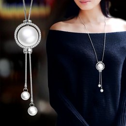 wholesale adjustable silver snake chains Canada - SINLEERY Elegant Rhinestone Circle Long Necklace For Women Silver Color Chain Adjustable Tassel Pendant Pearl Necklace MY048 SSH