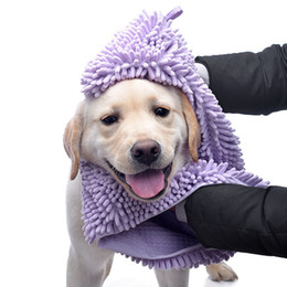 Chenille Towels Wholesale Australia - 35*60 35*80cm Multipurpose Pet Drying Towel Ultra-absorbent Dog Bath Towel Blanket fiber chenille Puppy Dog Pet Supply