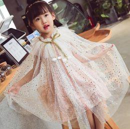 Girls Cotton Poncho Wholesale Australia - Chilldren Cloak Summer Girl Sunscreen Cloak Polyester Shawl Kids Cosplay Costume New Design Cosplay Costume Cloak Shawls