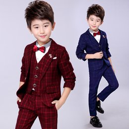 Prom Boys Jacket Australia - child Costumes for prom High Quality Kid Vest Jacket Pant Clothes Blazers Set Dark Blue Gray Wine wedding flower boy dress