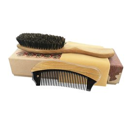 $enCountryForm.capitalKeyWord Australia - Hair Brush & Comb Set Boar Bristle Brush Green Sandalwood Ox Horn Pocket Travel Comb Detangling Curly Hair