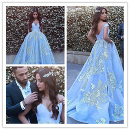 Off shOulder neckline yellOw dress online shopping - 2020 Neckline Ball Gown Off the shoulder Evening Dresses With Beaded Lace Appliques Blue Prom Dress vestido formatura party dress