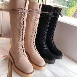 camel flat Australia - 2019 Autumn And Winter New Leather Strap High Knee And Knee Boots Black And Camel Flat Boots