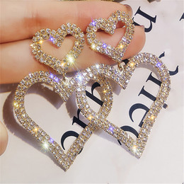 Wholesale Heart Charm Earrings For Ladies Fashion Crystal Double Contracted Joker Long Women Drop Studs Jewelry Gifts